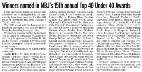 Memphis Business Journal's Top 40 Under 40.